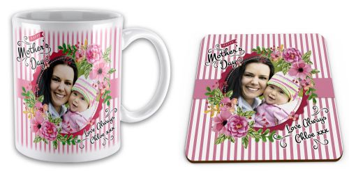 Personalised Happy Mothers Day Image & Text Novelty Mug with Coaster Gift Set